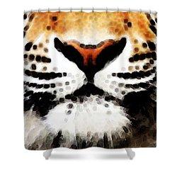 Tiger Art - Burning Bright Shower Curtain by Sharon Cummings