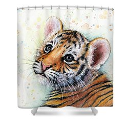 Tiger Cub Watercolor Art Shower Curtain by Olga Shvartsur