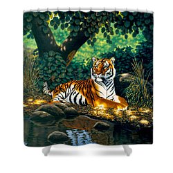 Tiger Shower Curtain by MGL Studio - Chris Hiett