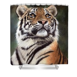 Tiger Painting Shower Curtain by Rachel Stribbling