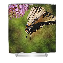 Tiger Swallowtail-featured In Photography And Textures And Harmony-happiness Groups Shower Curtain by EricaMaxine  Price