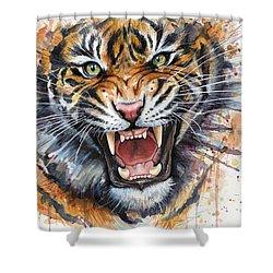 Tiger Watercolor Portrait Shower Curtain by Olga Shvartsur