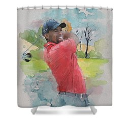 Tiger Woods Shower Curtain by Catf