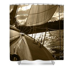 Time To Jibe  Shower Curtain by Kym Backland