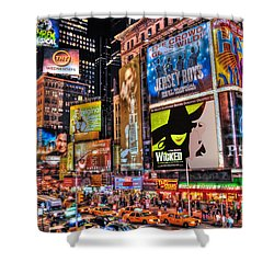 Times Square Shower Curtain by Randy Aveille