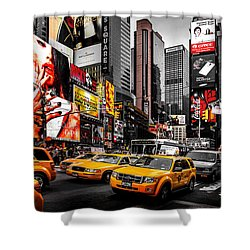 Times Square Taxis Shower Curtain by Az Jackson