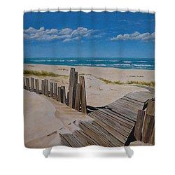 To The Beach Shower Curtain by Paul Bennett