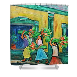 To The Morning Market Shower Curtain by Xueling Zou