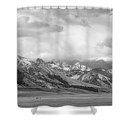 Tobacco Root Mountains Montana Black And White Shower Curtain by Jennie Marie Schell