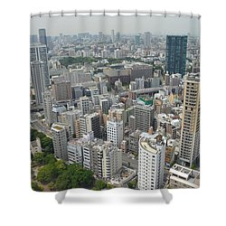 Tokyo Intersection Skyline View From Tokyo Tower Shower Curtain by Jeff at JSJ Photography