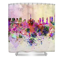 Tokyo Skyline In Watercolor Background Shower Curtain by Pablo Romero