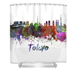 Tokyo Skyline In Watercolor Shower Curtain by Pablo Romero