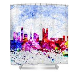 Tokyo Watercolor Shower Curtain by Daniel Janda