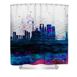 Tokyo Watercolor Skyline 2 Shower Curtain by Naxart Studio