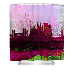 Tokyo Watercolor Skyline Shower Curtain by Naxart Studio