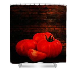 Tomatoes Shower Curtain by Lourry Legarde