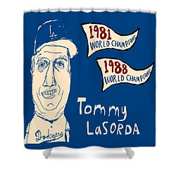 Tommy Lasorda Los Angeles Dodgers Shower Curtain by Jay Perkins