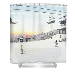 Top Of The Mountain At Seven Springs Shower Curtain by Albert Puskaric