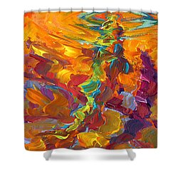 Topwater Trout Abstract Tour Study Shower Curtain by Savlen Art