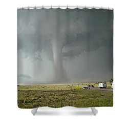 Tornado Truck Stop Shower Curtain by Ed Sweeney