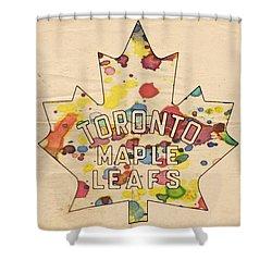 Toronto Maple Leafs Vintage Poster Shower Curtain by Florian Rodarte