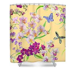 Tossed Orchids Shower Curtain by Kimberly McSparran