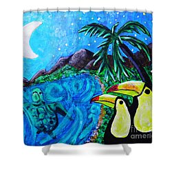 Toucan Bay Shower Curtain by Sarah Loft