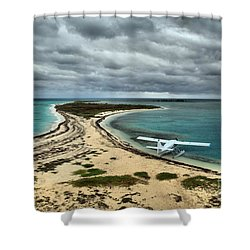Touchdown At Tortugas Shower Curtain by Adam Jewell
