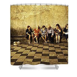 Tourists On Bench - Taormina - Sicily Shower Curtain by Madeline Ellis