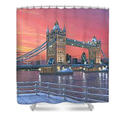Tower Bridge After The Snow Shower Curtain by Richard Harpum