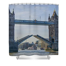 Tower Bridge Opened Shower Curtain by Chris Thaxter