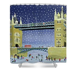 Tower Bridge Skating On Thin Ice Shower Curtain by Judy Joel