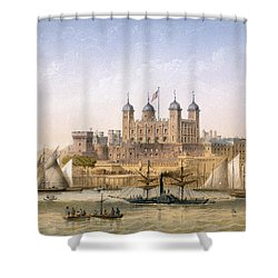 Tower Of London, 1862 Shower Curtain by Achille-Louis Martinet