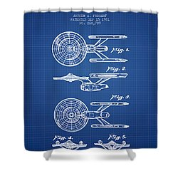 Toy Spaceship Patent From 1981 - Blueprint Shower Curtain by Aged Pixel
