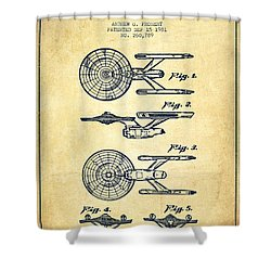 Toy Spaceship Patent From 1981 - Vintage Shower Curtain by Aged Pixel