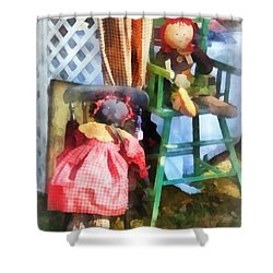 Toys - Two Rag Dolls At Flea Market Shower Curtain by Susan Savad