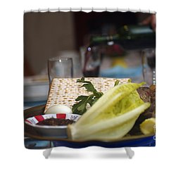 Traditional Sedder Table Shower Curtain by Ilan Rosen
