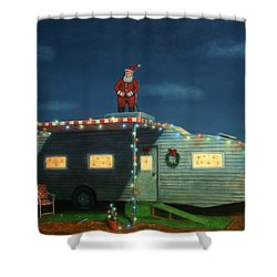 Trailer House Christmas Shower Curtain by James W Johnson