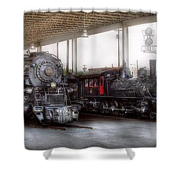 Train - Engine - 1218 - End Of The Line  Shower Curtain by Mike Savad