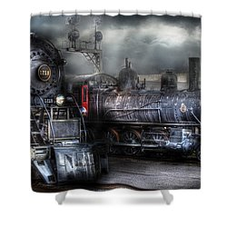 Train - Engine - 1218 - Waiting For Departure Shower Curtain by Mike Savad