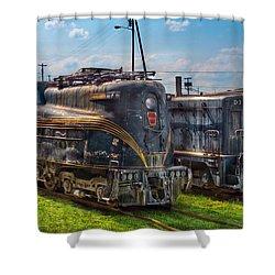 Train - Engine - 4919 - Pennsylvania Railroad Electric Locomotive  4919  Shower Curtain by Mike Savad