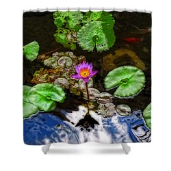 Tranquility - Lotus Flower Koi Pond By Sharon Cummings Shower Curtain by Sharon Cummings
