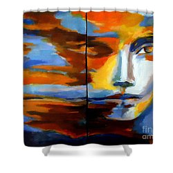 Transition - Diptic Shower Curtain by Helena Wierzbicki