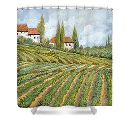 Tre Case Bianche Nella Vigna Shower Curtain by Guido Borelli