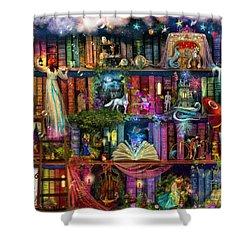 Fairytale Treasure Hunt Book Shelf Shower Curtain by Aimee Stewart