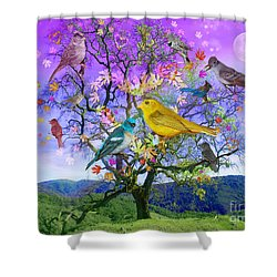 Tree Of Happiness Shower Curtain by Alixandra Mullins