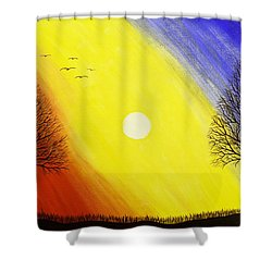 Tree Silhouette At Sunset Painting Shower Curtain by Keith Webber Jr