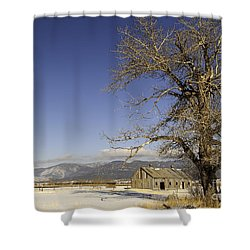 Tree With Barn Shower Curtain by Sue Smith