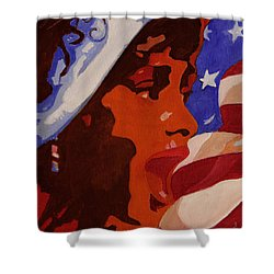 Tribute To Whitney Houston Shower Curtain by Xueling Zou