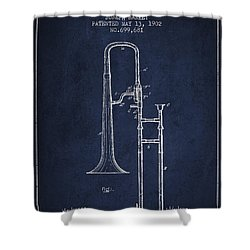 Trombone Patent From 1902 - Blue Shower Curtain by Aged Pixel